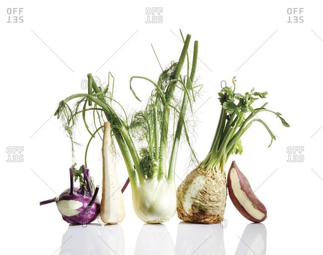 Potato, parsnip, celery root, kohlrabi, and fennel