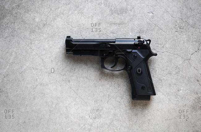 Sun Valley, California, USA - January 3, 2014: Gun on concrete background