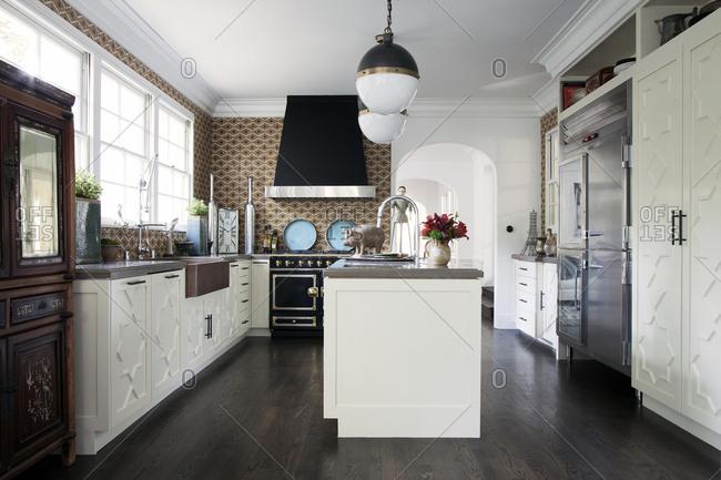 Los Angeles, California, USA - January 22, 2014: Interior of upscale vintage kitchen