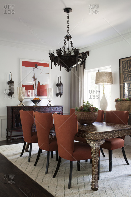 Los Angeles, California, USA - January 22, 2014: Interior of dining area with decorative table
