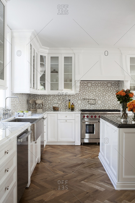 Los Angeles, California, USA - January 21, 2014: Interior of upscale modern kitchen