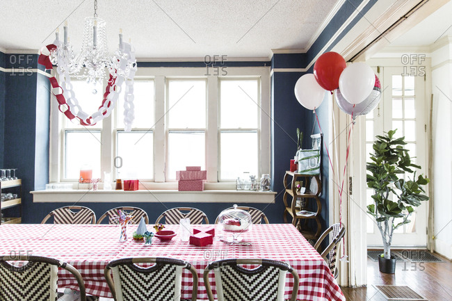 Dining room set up with birthday party decorations