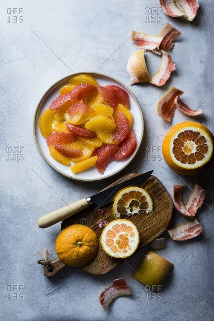 winter citrus fruits, oranges and grapefruit segments