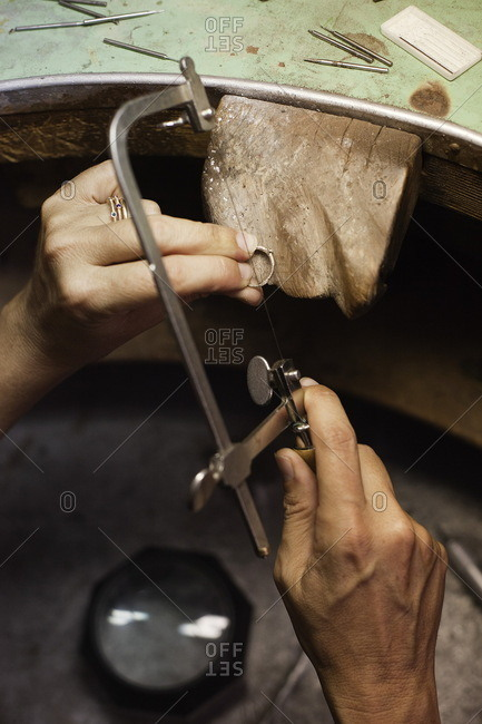Jewelry making using handsaw on ring