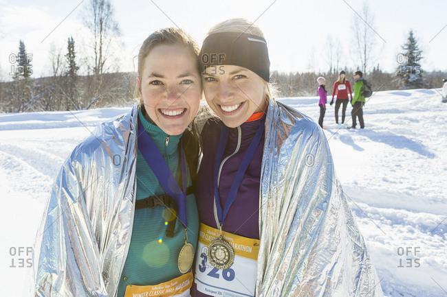 Winner and runner up of woman's winter running race