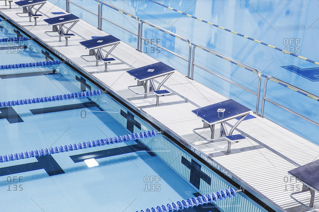 Indoor swimming pool, with diving platforms, for school sport programs and swim competitions.