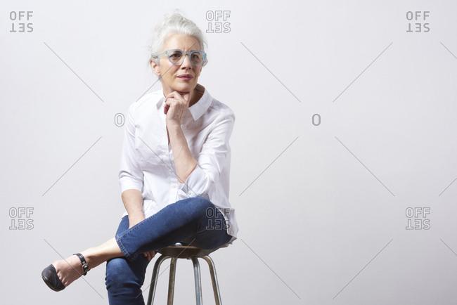 Grey haired female lovely skin
