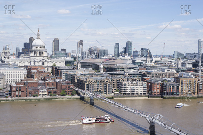 Bankside, London, England - July 6, 2016: A view towards the skyline of London