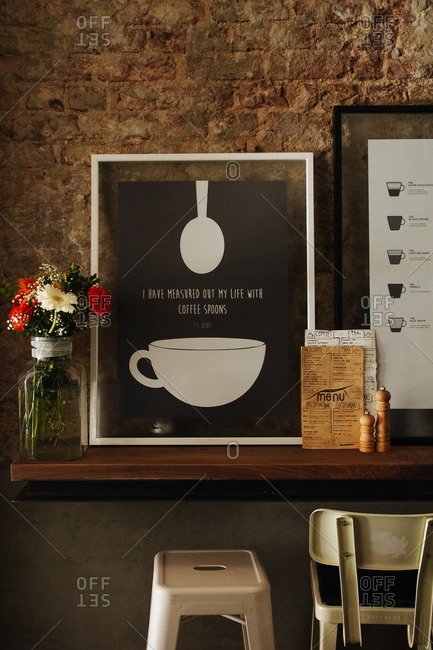 Istanbul, Turkey - May 12, 2014: Shelf area in trendy cafe