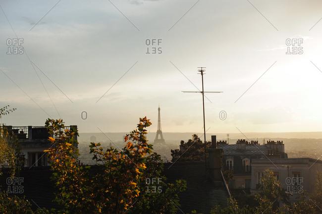 Eiffel Tower in foggy distance, Paris