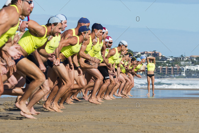 Sunshine Coast, Queensland, Australia - April 22, 2016: Athletes at the start of a race