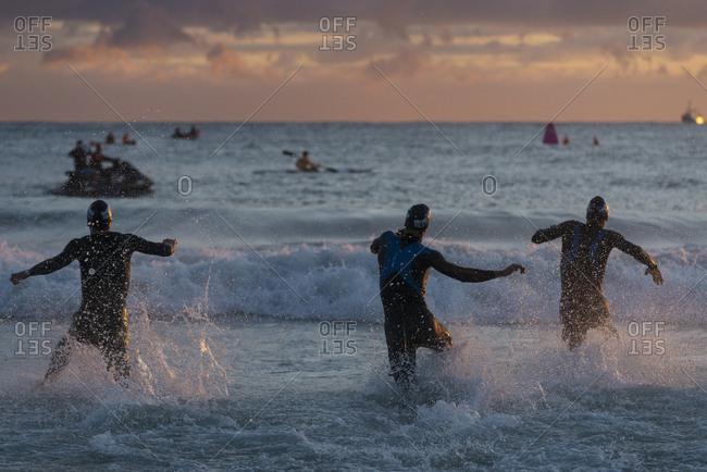 Mooloolaba, Australia - September 12, 2015: Early morning athletics competition  in Mooloolaba