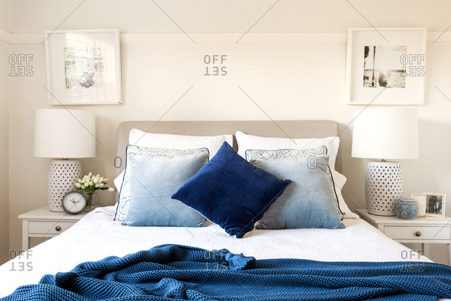 Modern bedroom with blue accents