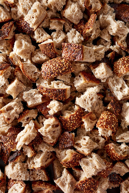 Pieces of toasted bread from above