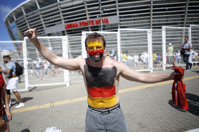 June 16, 2014 - Salvador, Brazil: Soccer fan painted in colors of German flag