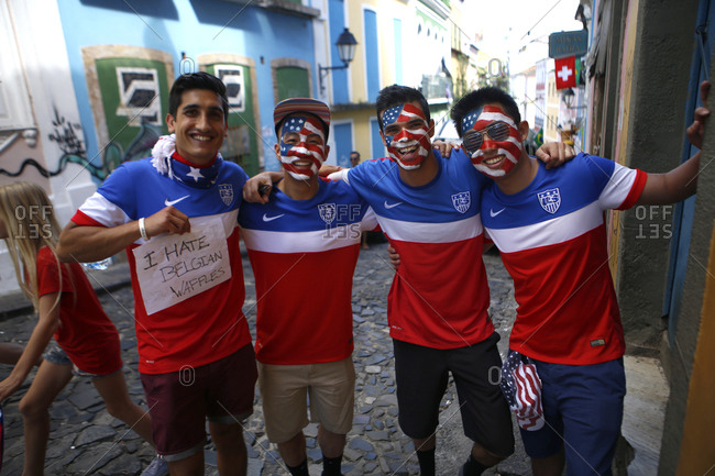 July 1, 2014 - Salvador, Brazil: Group of Team USA soccer fans with painted faces