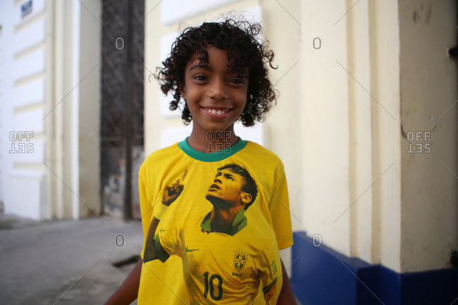 June 12, 2014 - Salvador, Brazil: Child wearing Team Brazil shirt with image of his favorite player