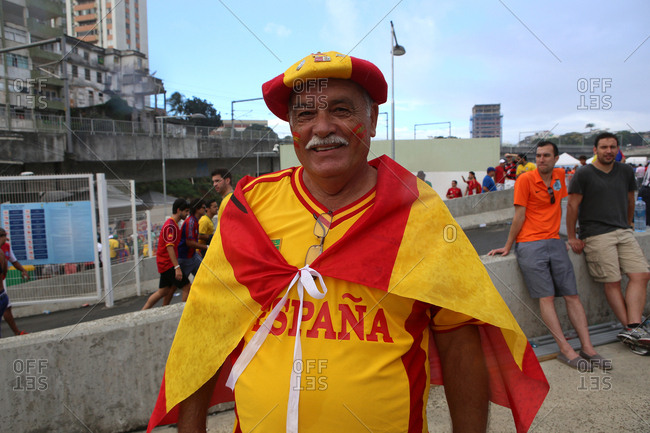June 13, 2014 - Salvador, Brazil: Proud Team Spain fan on street at World Cup
