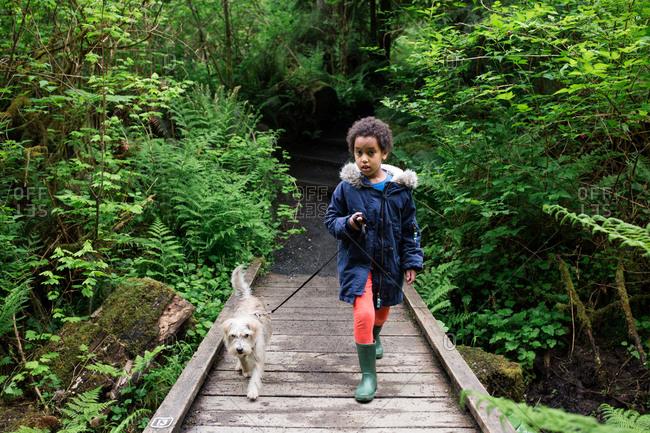 Girl walking dog on wooden bridge