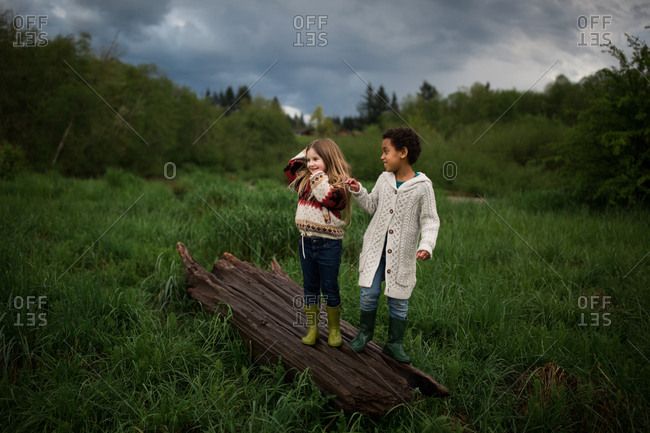 Two young girls standing on a log in a field