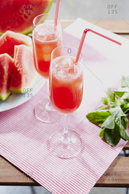 Two glasses of watermelon cocktail