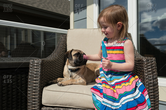 Pug dog licking mouth beside girl eating a popsicle