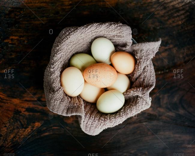 Bunch of fresh organic eggs