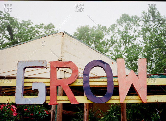 Grow sign at a plant nursery small business in North Carolina