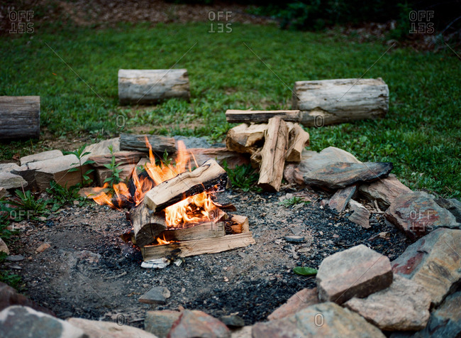 Campfire in the Blue Ridge Mountains