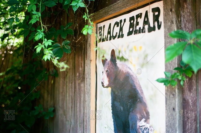 Sign on wooden wall depicting a black bear