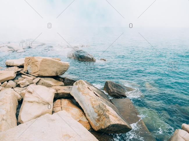 The rocky sea landscape of Wailingding Island in Zhuhai, China
