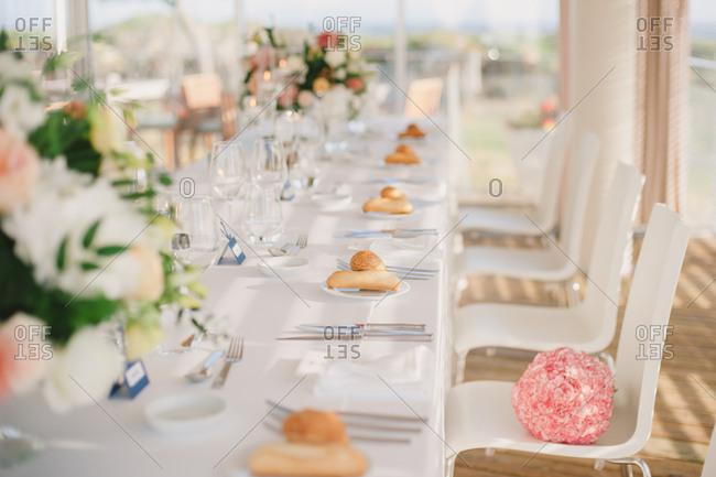 Bouquet on wedding reception chair