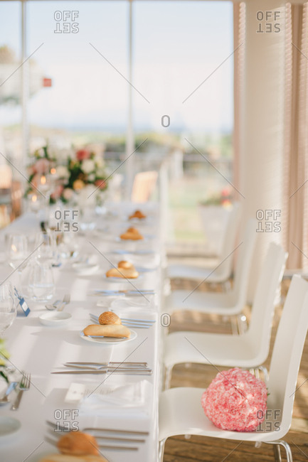 A wedding reception setting