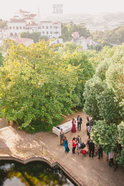 Sintra, Portugal - February 4, 2017: Wedding party in scenic setting