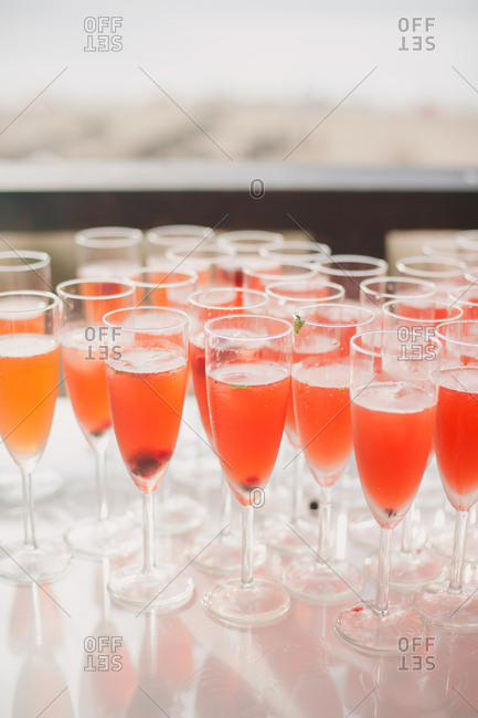 Drinks in champagne glasses for wedding
