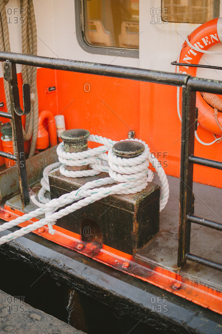 Lisbon, Portugal - February 4, 2017: Roped attached to ferry boat
