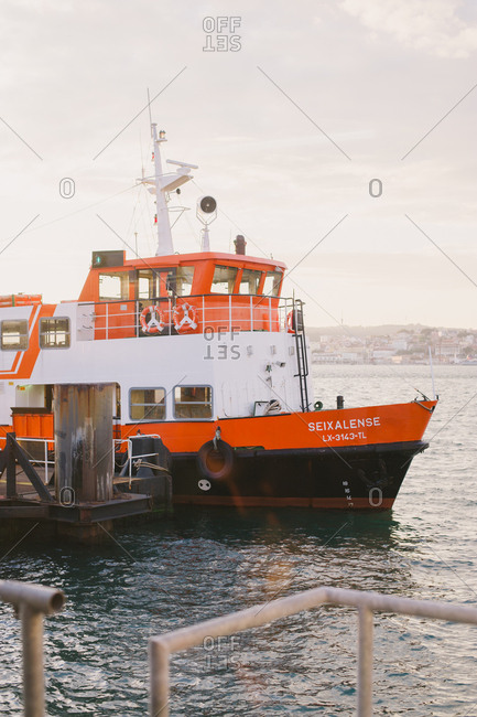 Lisbon, Portugal - February 4, 2017: Ferry boat by dock