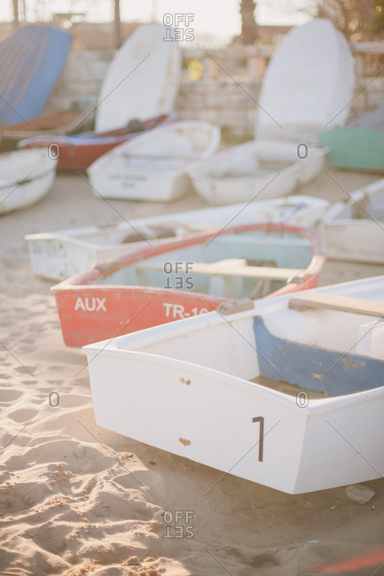 Cascais, Portugal - February 4, 2017: Boats on a beach