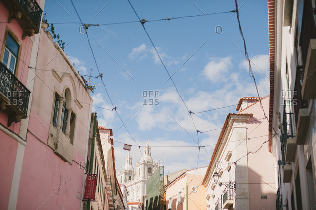 Lisbon, Portugal - February 4, 2017: Wires for streetcars