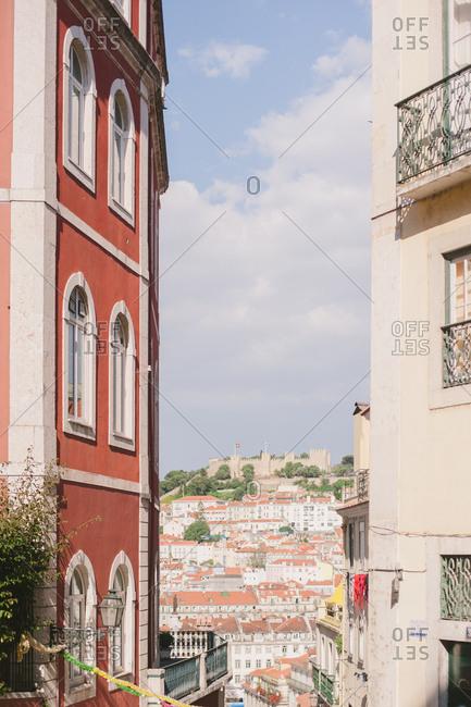 Lisbon cityscape from hillside neighborhood