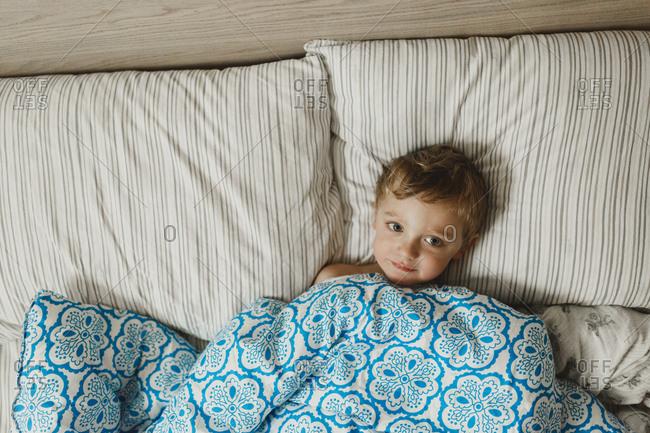 Boy nestled under comforter in bed