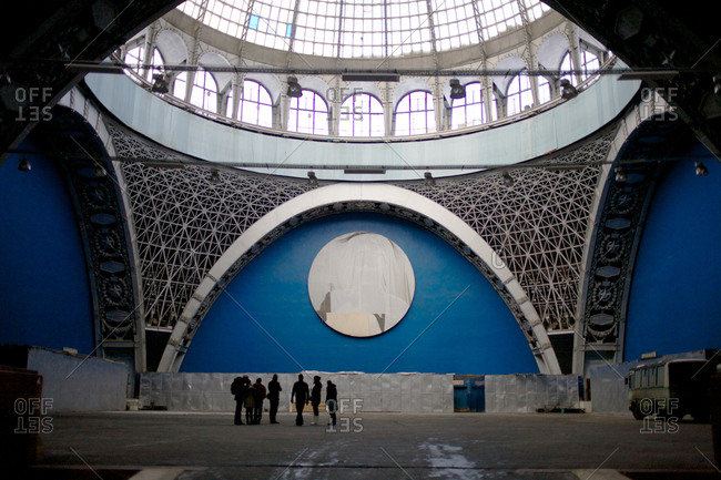 Moscow, Russian Federation - March 3, 2011: A covered portrait of the cosmonaut Yuri Alekseyevich Gagarin in the former Cosmos pavilion at VDNKh, which is known as a permanent trade show and amusement park in Moscow
