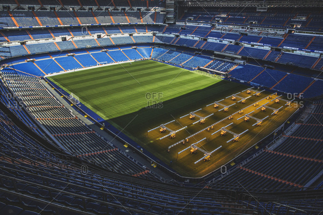 Madrid, Spain - October 14, 2015: The Estadio Santiago Bernabeu in Madrid, This all-seater football stadium is owned by Real Madrid C:F: and has a capacity of 85,454