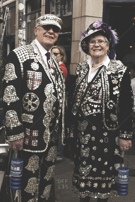 London, United Kingdom - May 5, 2013: A pearly King and Queen seen on the street in London