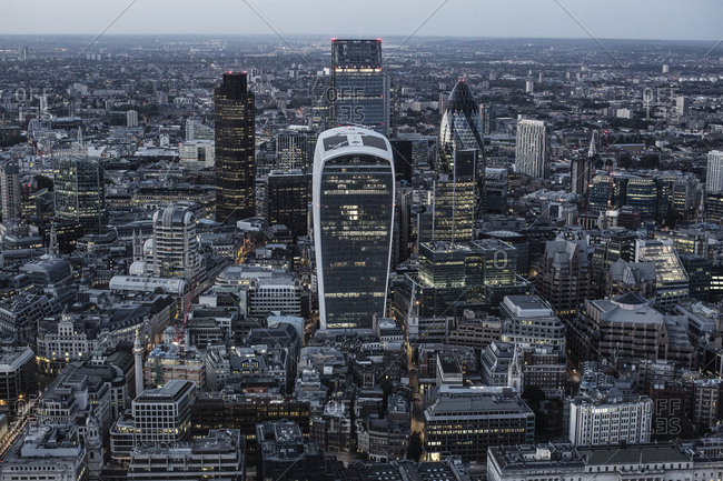 London, United Kingdom - September 6, 2015: The impressive skyline of London