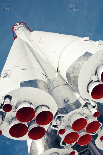 Moscow, Russian Federation - March 6, 2011: A Vostok rocket at Moscow VDNH, Russia