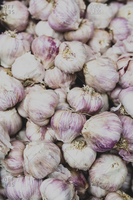 Fresh garlic for sale at a farmer's market