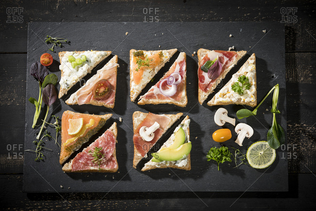 Various garnished sandwiches - Offset Collection