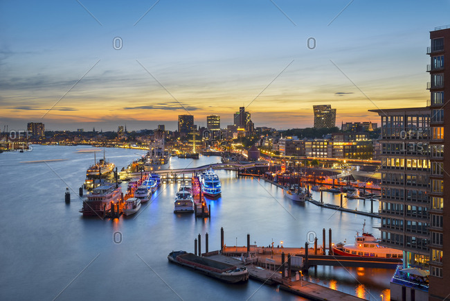 Germany, Hamburg - May 17, 2017: Niederhafen at sunset seen from Elbe Philharmonic Hall