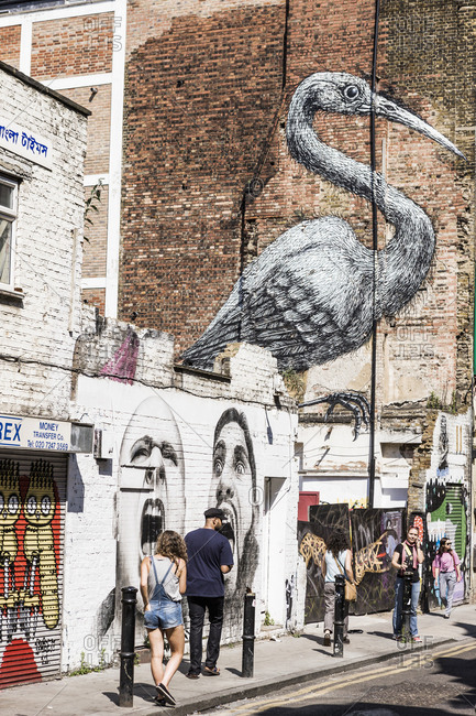 United Kingdom, England, London - June 12, 2017:  East End, Brick Lane, Hanbury Street, the mural by the British painter Ben Slow